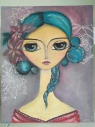 Dívka s květy - 1403
