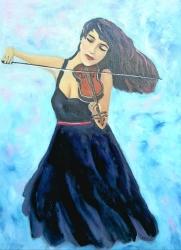 Dívka hrající na housle.