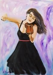 Dívka hrající na housle - 1412