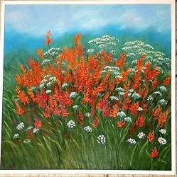 Zářivé květy s bílou krajkou - 1196
