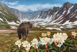 Medvěd v rododendronech - 1467