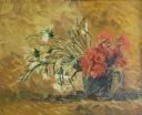 Váza s červ. a bílými karafiáty - 547