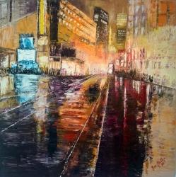 Noční město v dešti