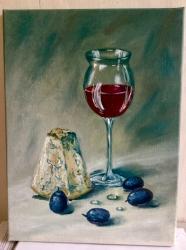 Zátiší se sýrem a vínem - 1255